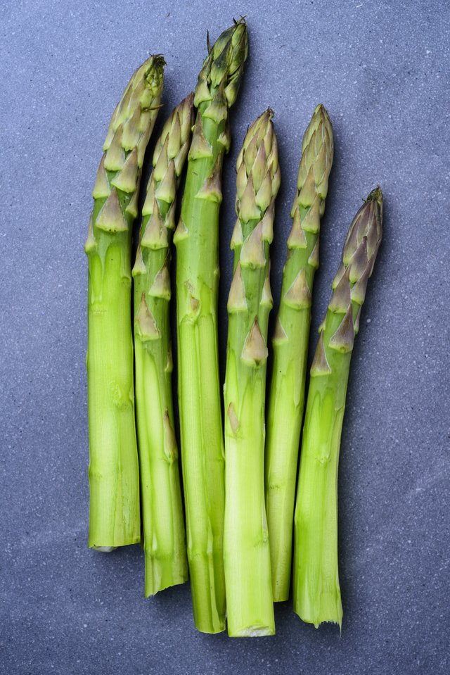 Fresh asparagus, ready for preparation.